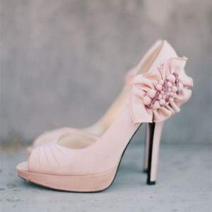 Light Pink Wedding Shoes Peep Toe Ruffles Pumps For Bridesmaid