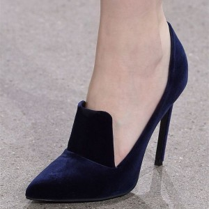 Navy Velvet Heels Pointy Toe Stiletto Heel Pumps for Office Lady