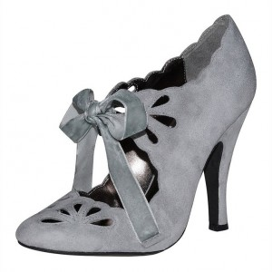 Grey Vintage Heels Lace up Suede Pumps for Women