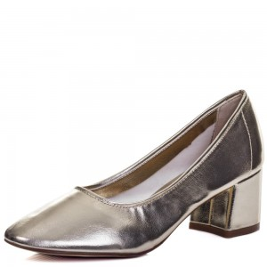 Fashion Silver Chunky Heels Round Toe Patent Leather Pumps by FSJ