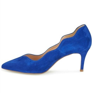 Royal Blue Wave Style Suede Shoes Almond Toe Heels Pumps