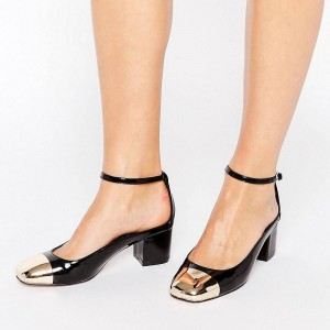 Black and Golden Patent Leather TPU Chunky Heels Ankle Strap Pumps