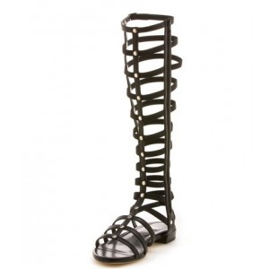 2017 Black Gladiator Sandals Sexy Knee-high Shoes
