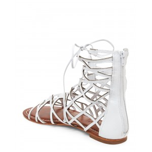 Women's White Hollow-out Flat Gladiator Sandals