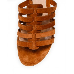 Tan Flats Gladiator Sandals Suede Strappy Summer Sandals