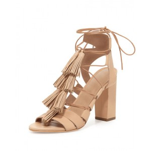 Khaki Tassel Sandals Open Toe Strappy Lace up Block Heels