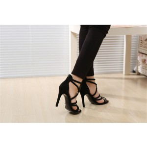 Women's Leila Black Open Toe Stiletto Heel Strappy Sandals