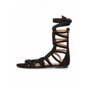 Black Strappy Gladiator Sandals Open Toe Flat Lace up Beach Sandals