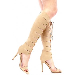 Women's Apricot Open Toe Lace-up Stiletto Heel  Knee-high Gladiator Sandals