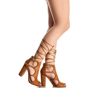 Tan Strappy Sandals Buckles Peep Toe Block Heels