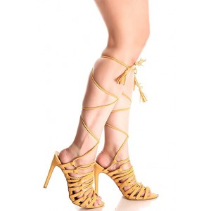 Women's Yellow Peep Toe Stiletto Heel Sandals Strappy Heels