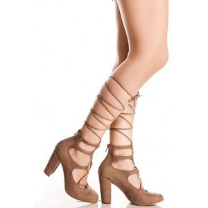 Women's Light Brown Strappy Heels Chunky Heel Pumps