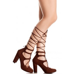 Women's Maroon Strappy Chunky Heel  Pumps Gladiator Sandals