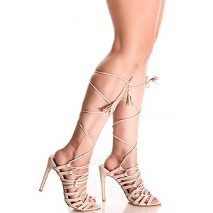 Women's Beige Strappy Stiletto Heel Gladiator Sandals