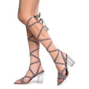 Women's Grey Strappy Block Heels Sandals Strappy Heels