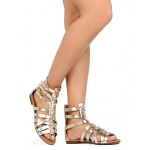 Women's Champagne Hollow-out Gladiator Sandals Open Toe Strappy Comfortable Flats