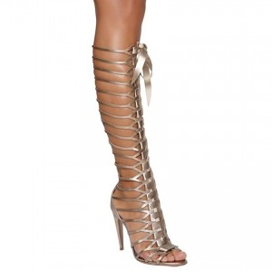 Women's Champagne Knee-high Stiletto Heel Gladiator Sandals Party Shoes