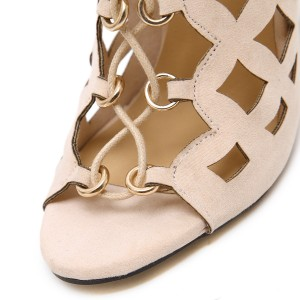 Beige Lace up Sandals Hollow out Open Toe Stiletto Heels for Women