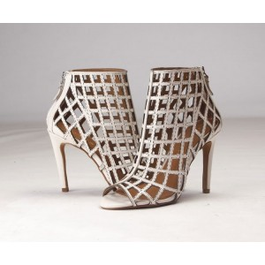 Women's Beige Caged Hollow-out Stiletto Heels Sandals