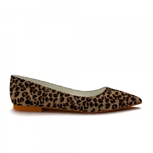 Leopard Print Flats Pointy Toe Suede Chunky Heels Comfortable Shoes