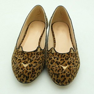 Women's Cute Leopard Print Flats Suede Round Toe Comfortable Shoes