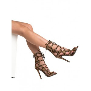 Women's Hollow-out Stiletto Heel Leopard Printed Sandals
