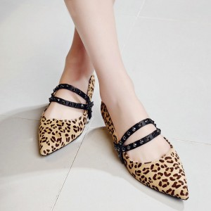 Women's Khaki Pointed Toe Suede Studs Decorated Mary Jane Leopard Print Flats