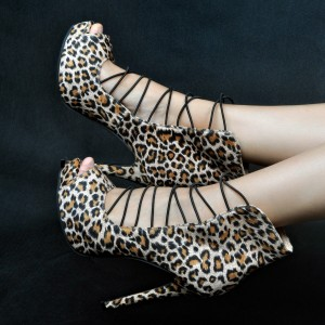 Leopard Print Heels Peep Toe Strappy Stiletto Heel Pumps