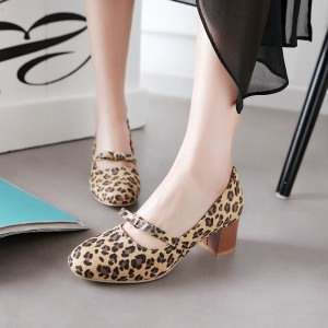 Leopard Print Shoes Chunky Heel Round Toe Pumps