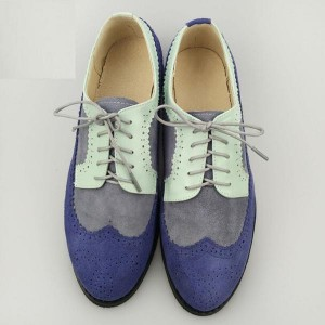 Grey and Cyan Stitching Color Vintage Women's Oxfords& Brogues