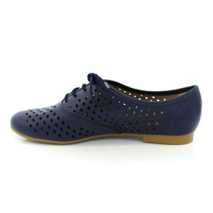 Navy Vegan Shoes Hollow out Round Toe Vintage Flats US Size 3-15