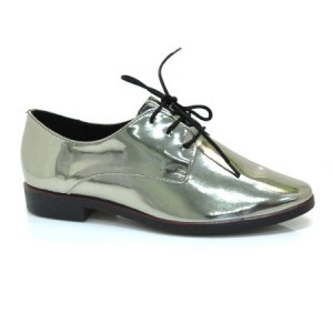 Bright Green Patent Leather Vintage Shoes Lace-up Women's Oxfords