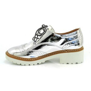 Silver Lace-up Mirror Leather Vintage Brogues Women's Oxfords