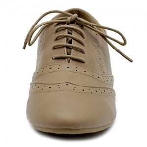 Tan Round Toe Wingtip Shoes Vintage Flat Oxfords