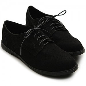 Suede Comfortable Shoes Black Vintage Lace-up Oxfords