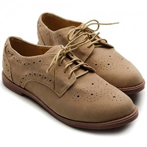 Khaki Comfortable Vintage Shoes Women's Oxfords& Brogues