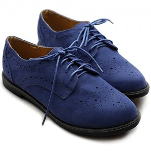 Navy Comfortable Shoes Lace up Oxfords Vintage Flats