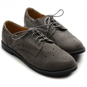 Dark Grey Vintage Shoes Women's Oxfords Lace-up Comfortable Flat