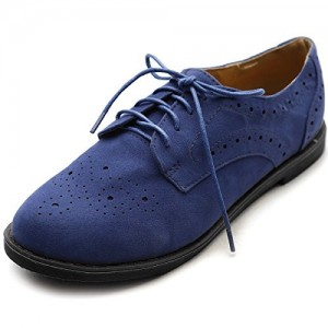Navy Lace up Comfortable Flats Women's Oxfords Vintage Shoes