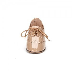 Nude Women's Oxfords Lace up Patent Leather Vintage School Shoes