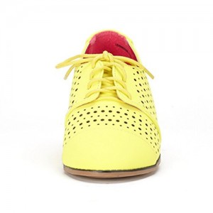 Women's Oxfords Lemon Yellow Hollow-out Lace-up Vintage Shoes