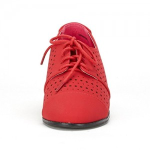 Women's Red Hollow-out Lace-up Vintage  Oxfords Comfortable Flats