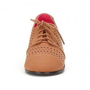 Brown Hollow-out Lace-up Vintage Women's Oxfords& Brogues