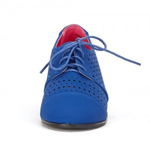 Blue Hollow-out Lace-up Vintage Women's Oxfords& Brogues