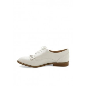 Women's Oxfords White Lace Up Fringed Flats Vintage Shoes