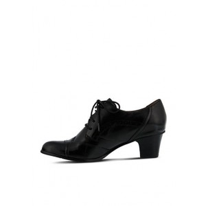Black Round Toe Oxford Heels Lace up Vintage Wingtip Shoes
