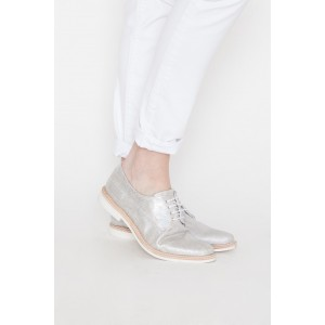 Silver Comfortable Fabric Vintage Flats Women's Oxfords
