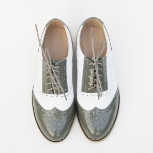 Green and White Two Tone Wingtip Shoes Lace up Patent Leather Oxfords