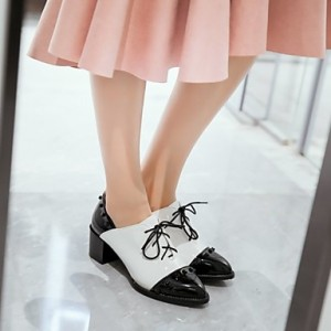 Black and White Patent Leather Oxford Heels Pointy Toe Vintage Shoes