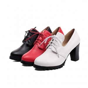 White Lace-up Vintage Heels Women's Brogues